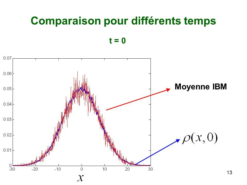 13 Comparaison pour différents temps Moyenne IBM t = 0