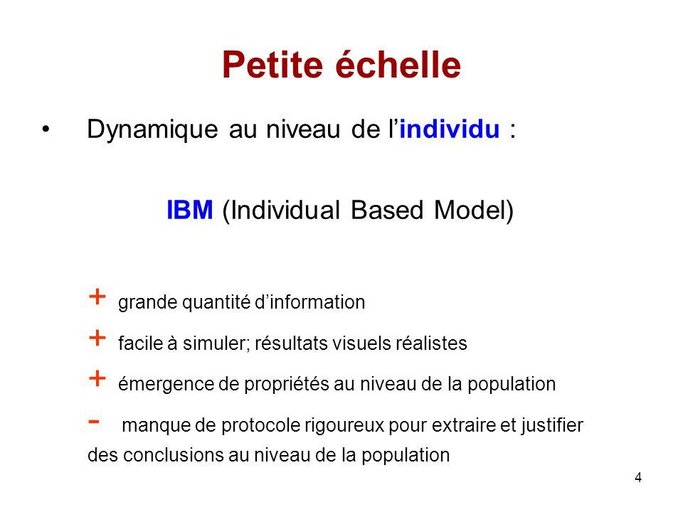 5 Grande échelle Dynamique au niveau de la population : équations dadvection - diffusion PDE (Partial Differential Equation) + description de la densité de population : intégration de la variabilité individuelle + méthode danalyse standardisée + on peut extraire des conclusions et les justifier (mécaniste)