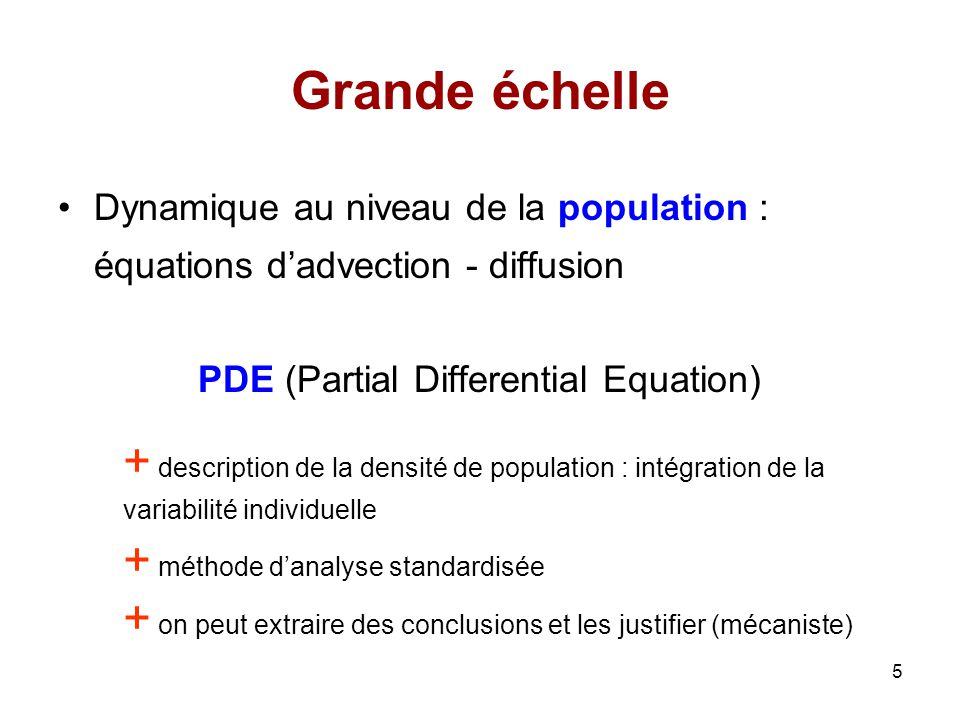 5 Grande échelle Dynamique au niveau de la population : équations dadvection - diffusion PDE (Partial Differential Equation) + description de la densi