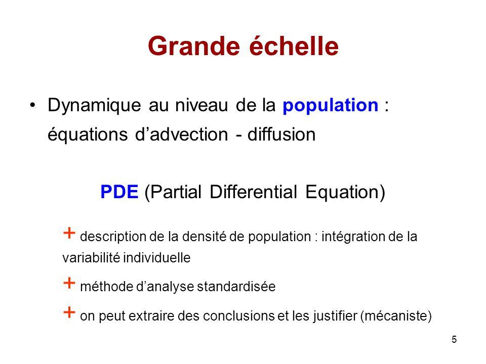 6 Méthode utilisée 1)Écrire le modèle individu-centré (IBM) 2)Écrire des équations différentielles stochastiques (SDE) associées à lIBM : temps continu 3)Obtenir les équations aux dérivés partielles (PDE) de la densité de population : nombre dindividus (N) tend vers linfini Comment exploiter les avantages des modèles individus-centrés dune façon rigoureuse?