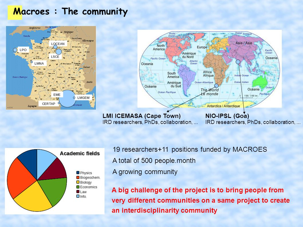Macroes : The community 19 researchers+11 positions funded by MACROES A total of 500 people.month A growing community A big challenge of the project is to bring people from very different communities on a same project to create an interdisciplinarity community LMI ICEMASA (Cape Town) IRD researchers, PhDs, collaboration,...