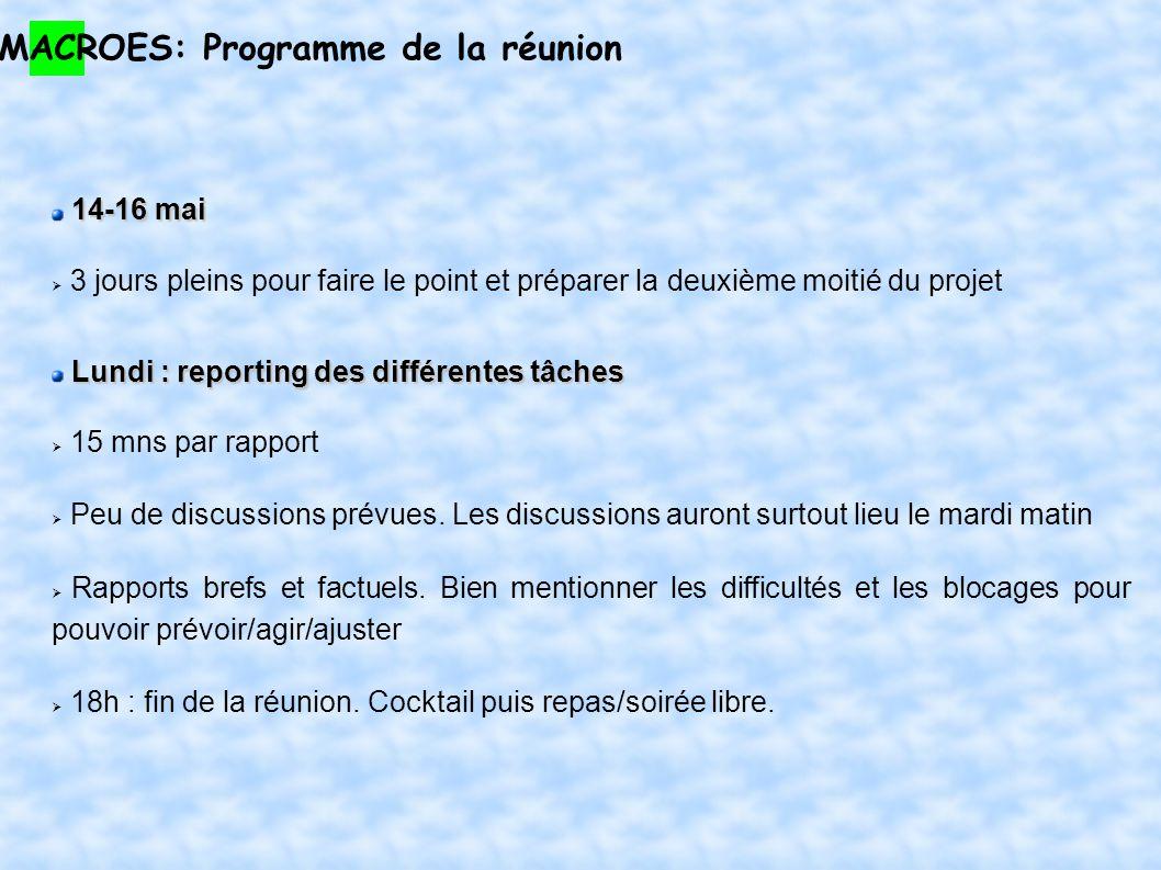 MACROES: Programme de la réunion 14-16 mai 3 jours pleins pour faire le point et préparer la deuxième moitié du projet Lundi : reporting des différentes tâches 15 mns par rapport Peu de discussions prévues.