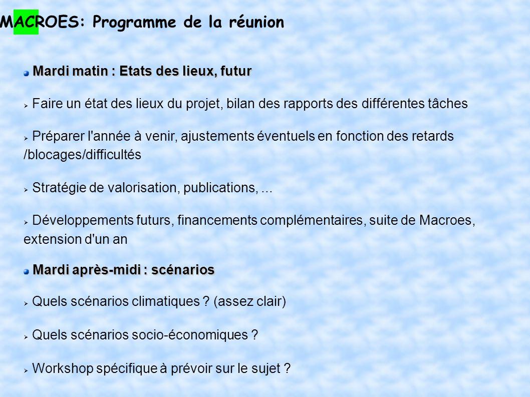 MACROES: Programme de la réunion Mardi matin : Etats des lieux, futur Faire un état des lieux du projet, bilan des rapports des différentes tâches Pré