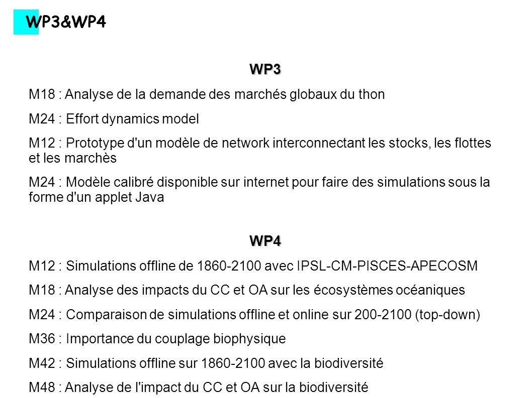 WP5 WP5 Impact des pêcheries M36 : Etude quantitative des effets du climat de la pêche sur les thons et écosystèmes M40 : Etude quantitative des effets de la pêche sur la biodiversité fonctionnelle M44 : Analyse quantitative sur les effets de la pêche sur les shifts d espèces M48 : Analyse quantitative de la distribution des flottilles, des marchés selon différents modes de variabilité climatique Gouvernance M18 : Tendances dans l évolution de la législation internationale de la Mer M24, 36 : Tendances dans l évolution de la législation sur les pêcheries M12 : Tendances dans le droit economique et le droit du développement durable des ressources marines