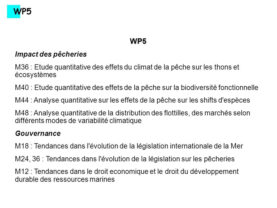 WP5 WP5 Impact des pêcheries M36 : Etude quantitative des effets du climat de la pêche sur les thons et écosystèmes M40 : Etude quantitative des effet