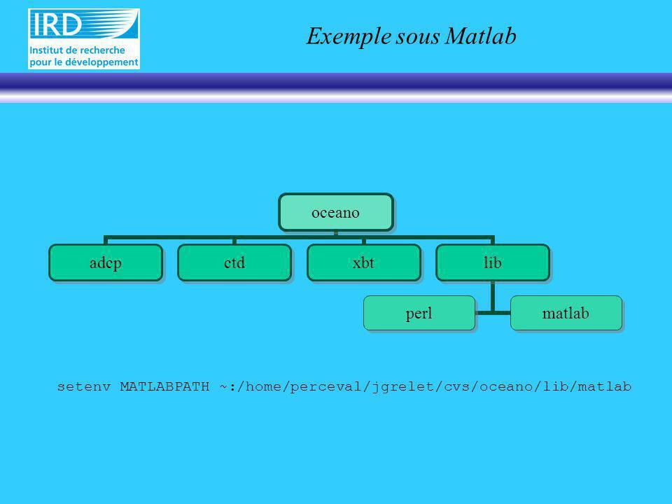 Exemple sous Matlab oceano adcpctdxbtlib perlmatlab setenv MATLABPATH ~:/home/perceval/jgrelet/cvs/oceano/lib/matlab