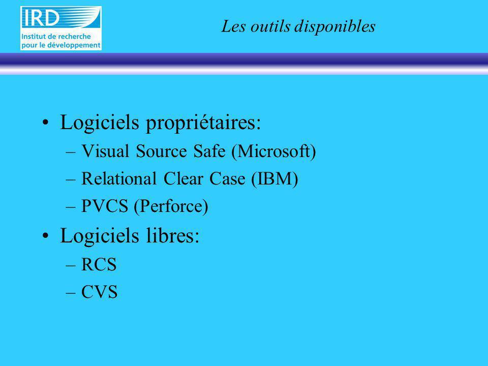 Les outils disponibles Logiciels propriétaires: –Visual Source Safe (Microsoft) –Relational Clear Case (IBM) –PVCS (Perforce) Logiciels libres: –RCS –CVS