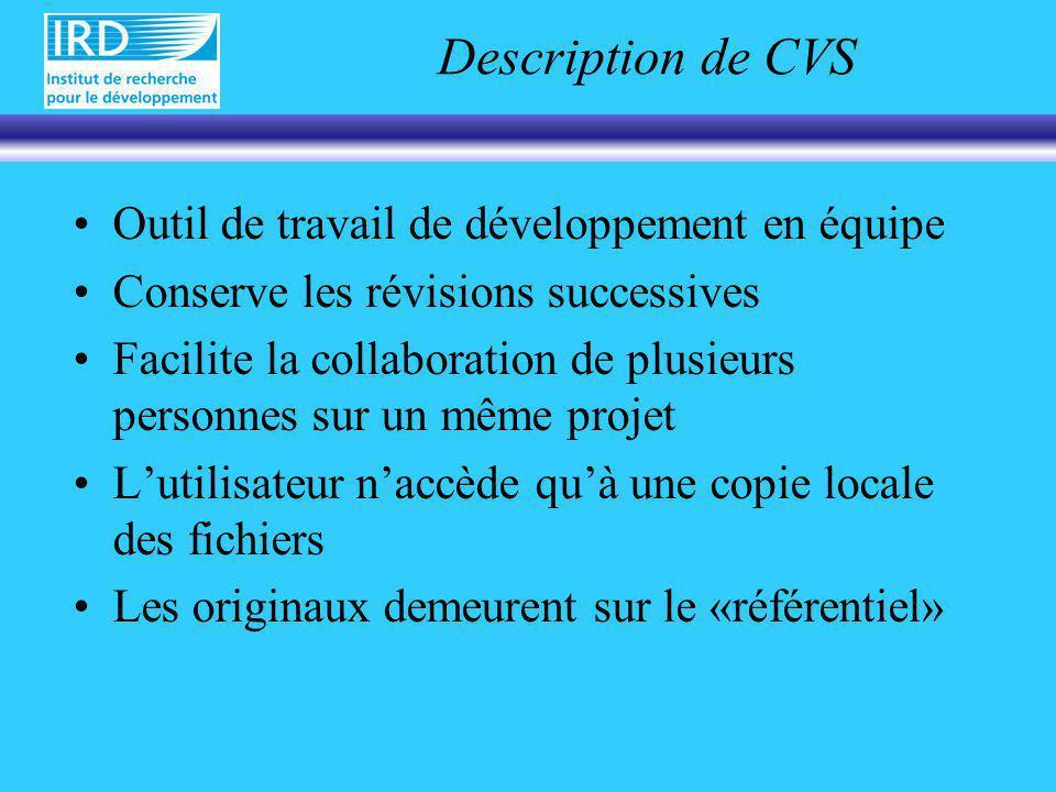Description de CVS Outil de travail de développement en équipe Conserve les révisions successives Facilite la collaboration de plusieurs personnes sur un même projet Lutilisateur naccède quà une copie locale des fichiers Les originaux demeurent sur le «référentiel»