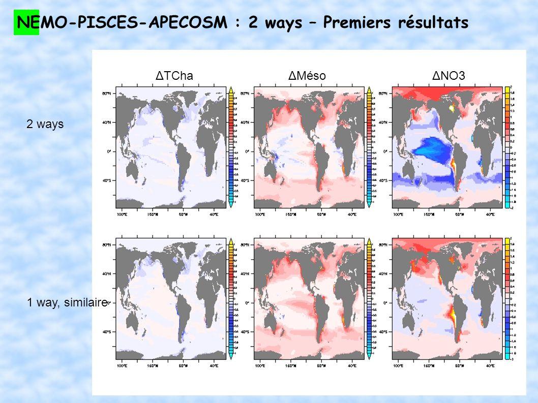 NEMO-PISCES-APECOSM : 2 ways – Premiers résultats ΔTCha 2 ways ΔMésoΔNO3 1 way, similaire