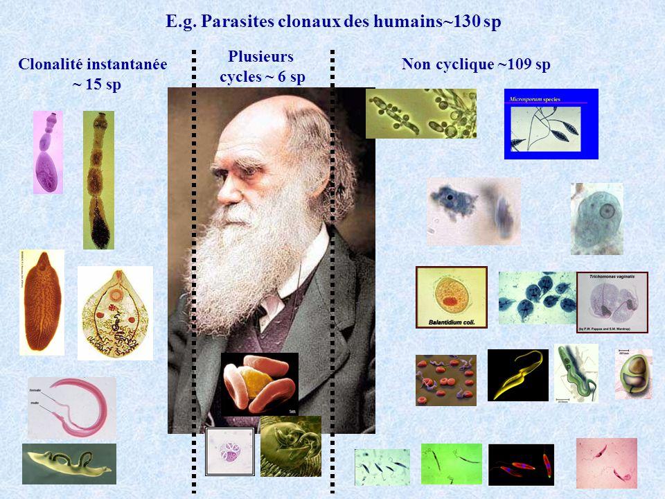 E.g. Parasites clonaux des humains~130 sp Clonalité instantanée ~ 15 sp Plusieurs cycles ~ 6 sp Non cyclique ~109 sp