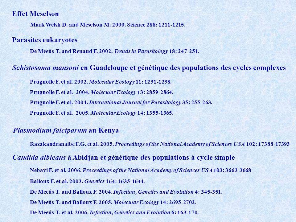 Parasites eukaryotes De Meeûs T. and Renaud F. 2002. Trends in Parasitology 18: 247-251. Schistosoma mansoni en Guadeloupe et génétique des population