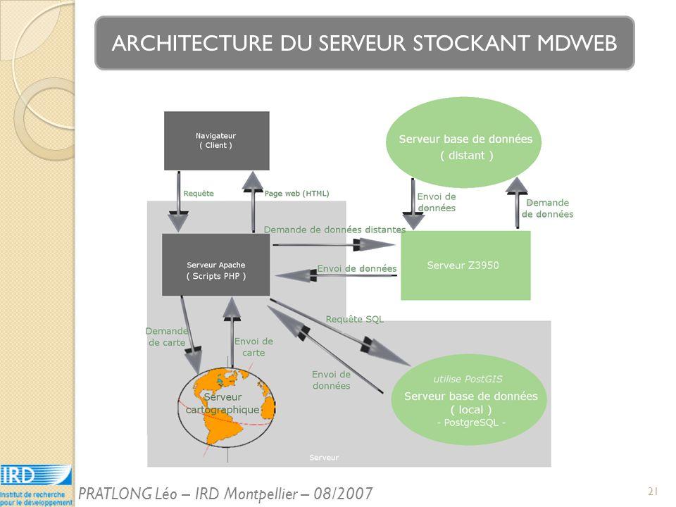 ARCHITECTURE DU SERVEUR STOCKANT MDWEB 21 PRATLONG Léo – IRD Montpellier – 08/2007