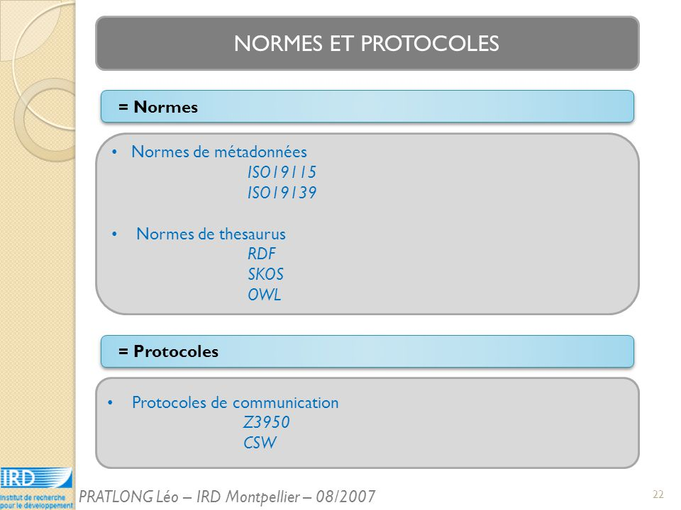NORMES ET PROTOCOLES Normes de métadonnées ISO19115 ISO19139 Normes de thesaurus RDF SKOS OWL Protocoles de communication Z3950 CSW = Normes = Protocoles 22 PRATLONG Léo – IRD Montpellier – 08/2007