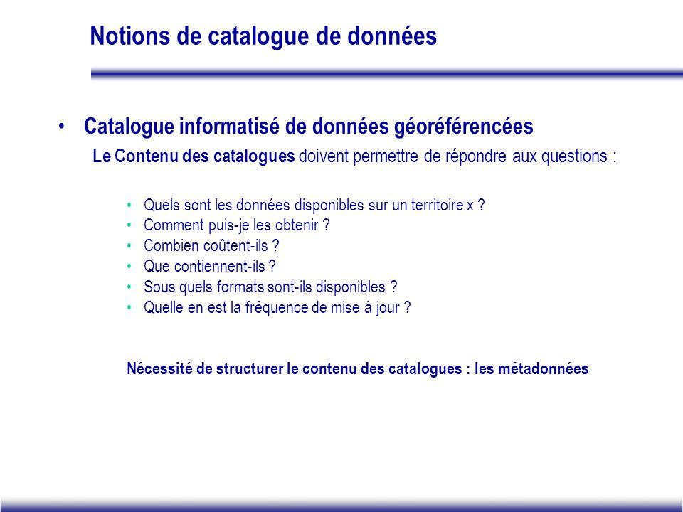 Notions de catalogue de données Catalogue informatisé de données géoréférencées Le Contenu des catalogues doivent permettre de répondre aux questions : Quels sont les données disponibles sur un territoire x .