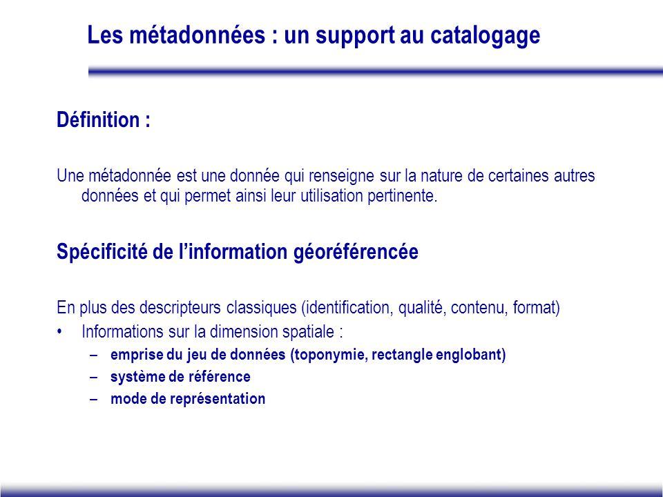 Les métadonnées : un support au catalogage Définition : Une métadonnée est une donnée qui renseigne sur la nature de certaines autres données et qui permet ainsi leur utilisation pertinente.