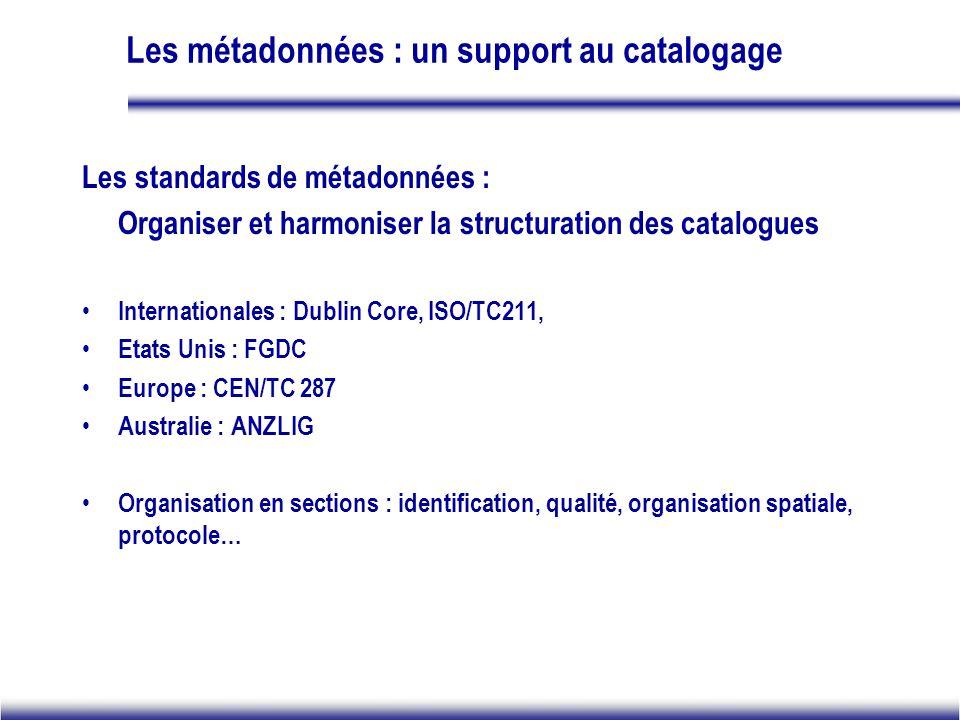 Les métadonnées : un support au catalogage Les standards de métadonnées : Organiser et harmoniser la structuration des catalogues Internationales : Du