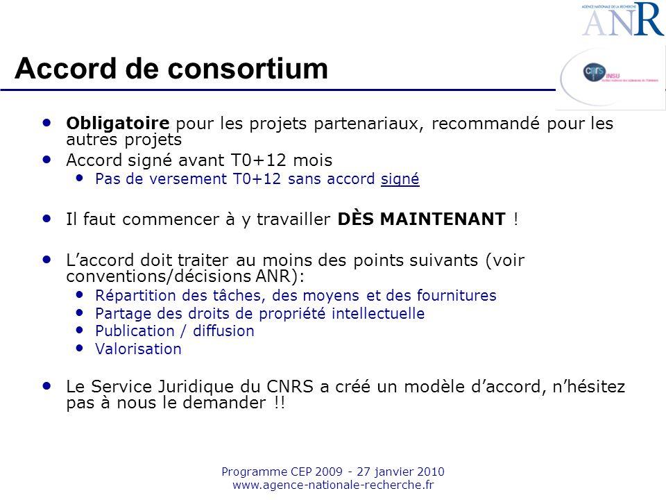 Emplacement pour logo structure support Programme CEP 2009 - 27 janvier 2010 www.agence-nationale-recherche.fr Accord de consortium Obligatoire pour l