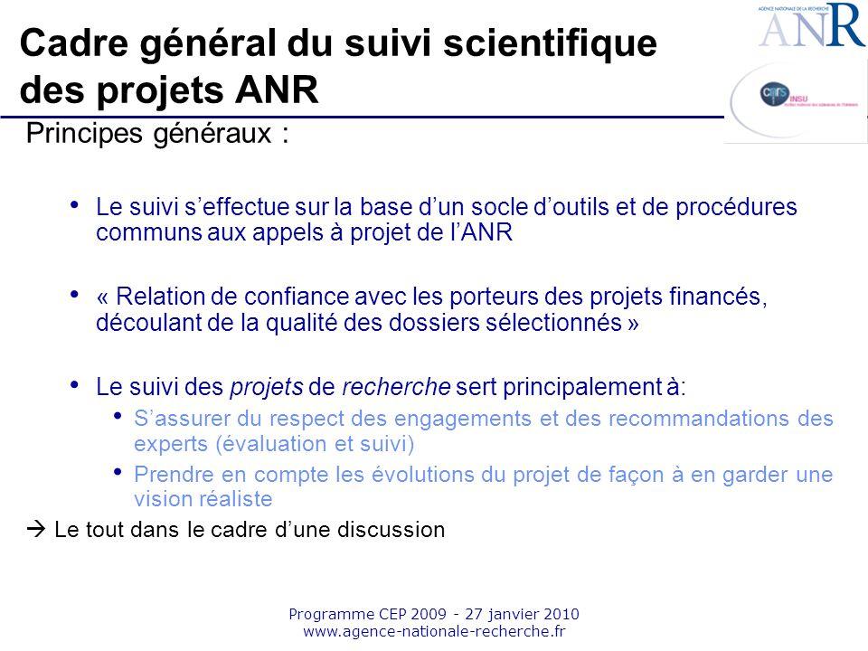 Emplacement pour logo structure support Programme CEP 2009 - 27 janvier 2010 www.agence-nationale-recherche.fr Cadre général du suivi scientifique des