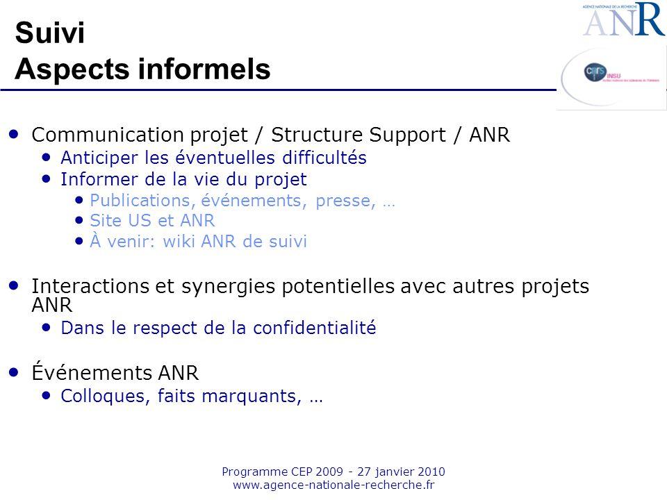 Emplacement pour logo structure support Programme CEP 2009 - 27 janvier 2010 www.agence-nationale-recherche.fr Suivi Aspects informels Communication p