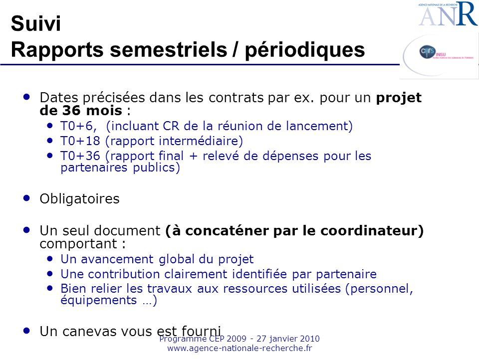 Emplacement pour logo structure support Programme CEP 2009 - 27 janvier 2010 www.agence-nationale-recherche.fr Suivi Rapports semestriels / périodique