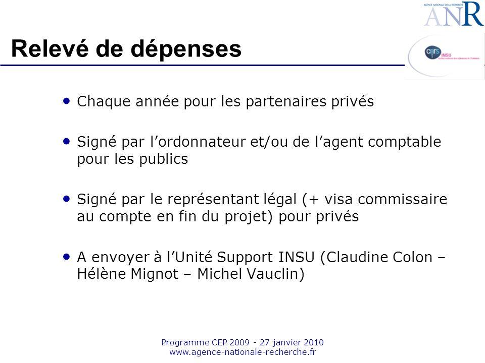 Emplacement pour logo structure support Programme CEP 2009 - 27 janvier 2010 www.agence-nationale-recherche.fr Relevé de dépenses Chaque année pour le