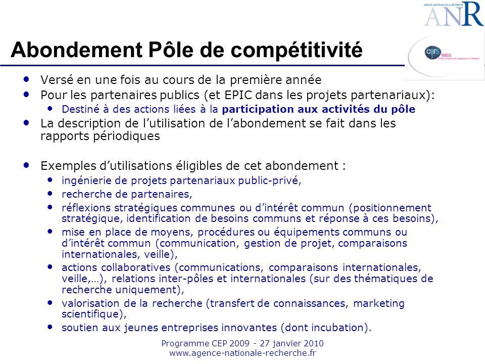 Emplacement pour logo structure support Programme CEP 2009 - 27 janvier 2010 www.agence-nationale-recherche.fr Abondement Pôle de compétitivité Versé