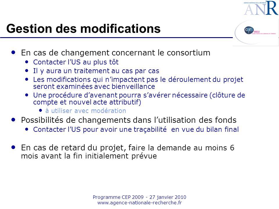 Emplacement pour logo structure support Programme CEP 2009 - 27 janvier 2010 www.agence-nationale-recherche.fr En cas de changement concernant le cons