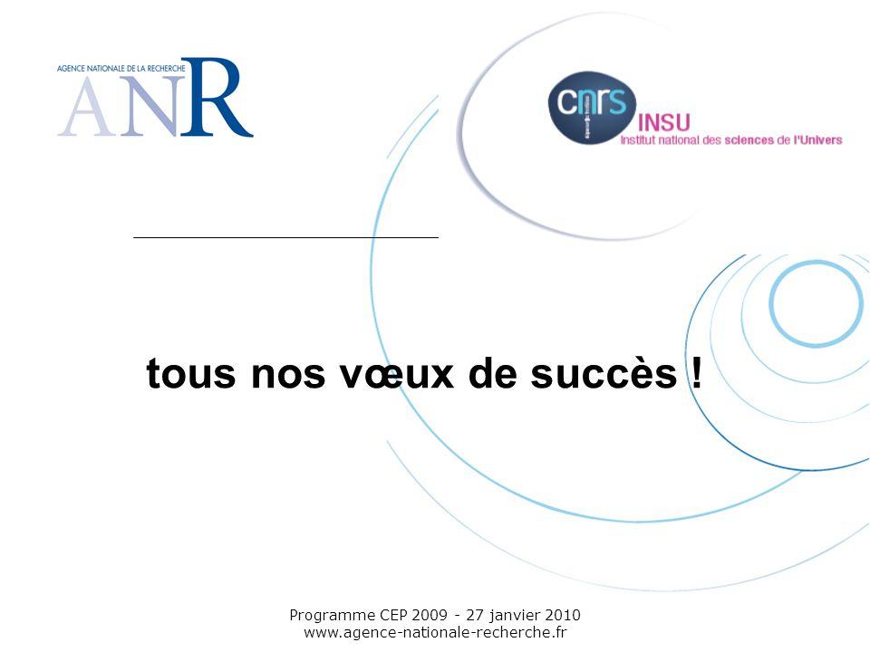 Emplacement pour logo structure support Programme CEP 2009 - 27 janvier 2010 www.agence-nationale-recherche.fr tous nos vœux de succès !