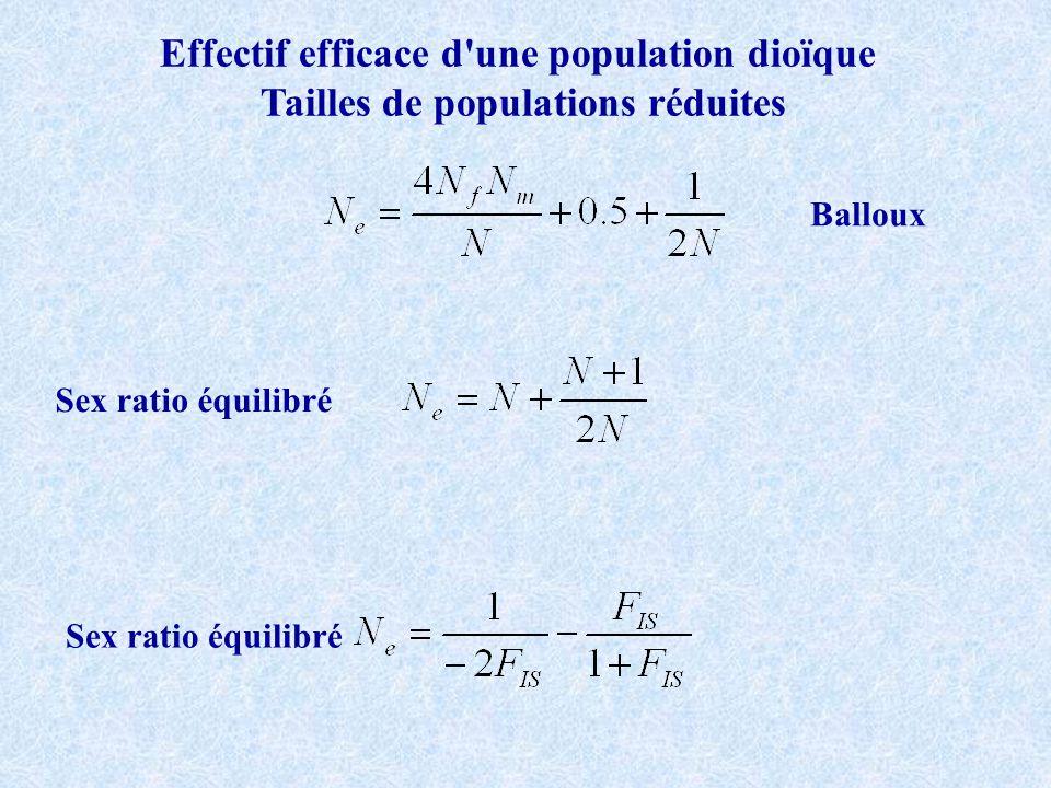 Effectif efficace d'une population dioïque Tailles de populations réduites Balloux Sex ratio équilibré