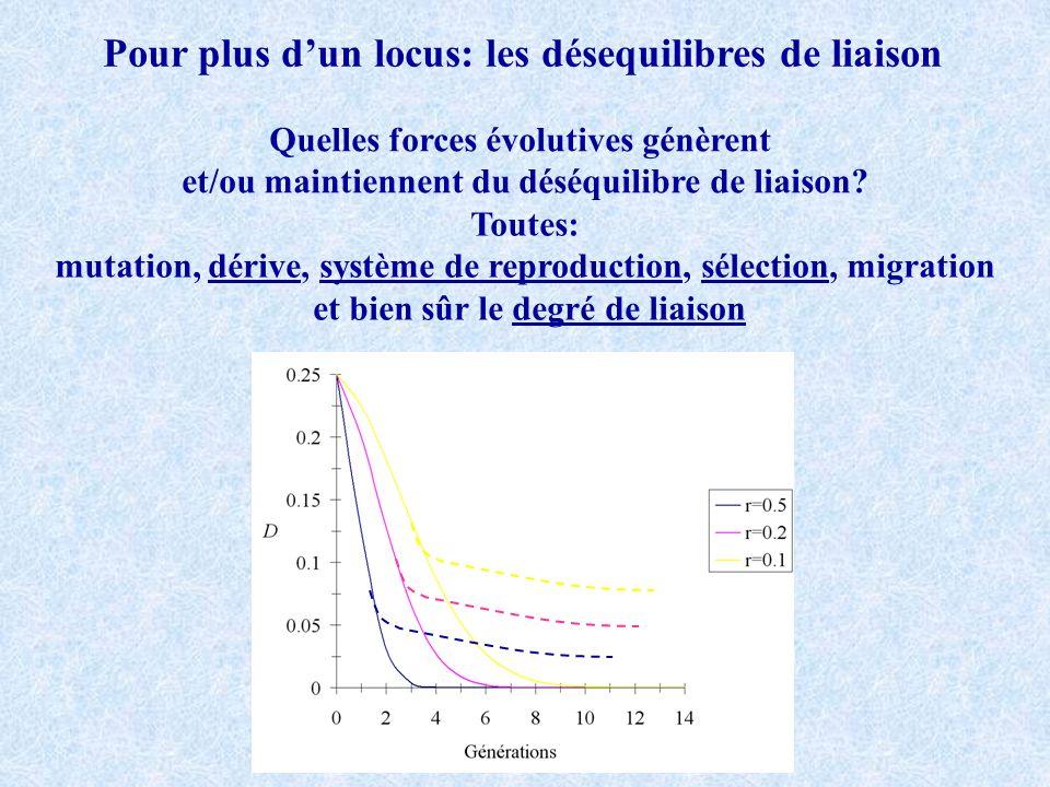 Pour plus dun locus: les désequilibres de liaison Quelles forces évolutives génèrent et/ou maintiennent du déséquilibre de liaison? Toutes: mutation,