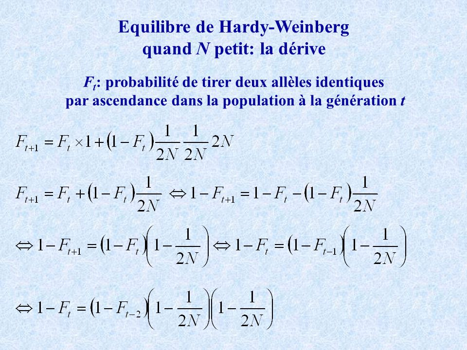 F-statistiques de Wright Modèle en îles de Wright, n très grand, 2 allèles F ST : Homozygotie relative entre individus des sous-populations en supprimant leffet de la déviation locale par rapport à HW et en ne tenant donc compte que de leffet de subdivision (Wahlund) Variance maximale des fréquences alléliques obtenues quand: danspopulations et dans populations