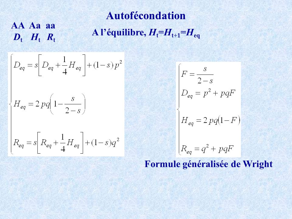 Autofécondation AA Aa aa D t H t R t A léquilibre, H t =H t+1 =H eq Formule généralisée de Wright