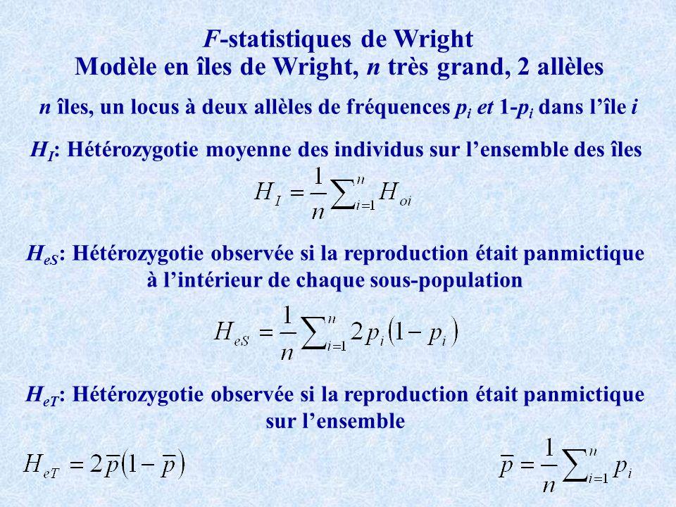 F-statistiques de Wright H I : Hétérozygotie moyenne des individus sur lensemble des îles Modèle en îles de Wright, n très grand, 2 allèles n îles, un locus à deux allèles de fréquences p i et 1-p i dans lîle i H eS : Hétérozygotie observée si la reproduction était panmictique à lintérieur de chaque sous-population H eT : Hétérozygotie observée si la reproduction était panmictique sur lensemble