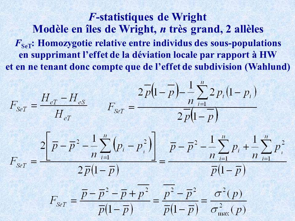 F-statistiques de Wright Modèle en îles de Wright, n très grand, 2 allèles F SeT : Homozygotie relative entre individus des sous-populations en supprimant leffet de la déviation locale par rapport à HW et en ne tenant donc compte que de leffet de subdivision (Wahlund)