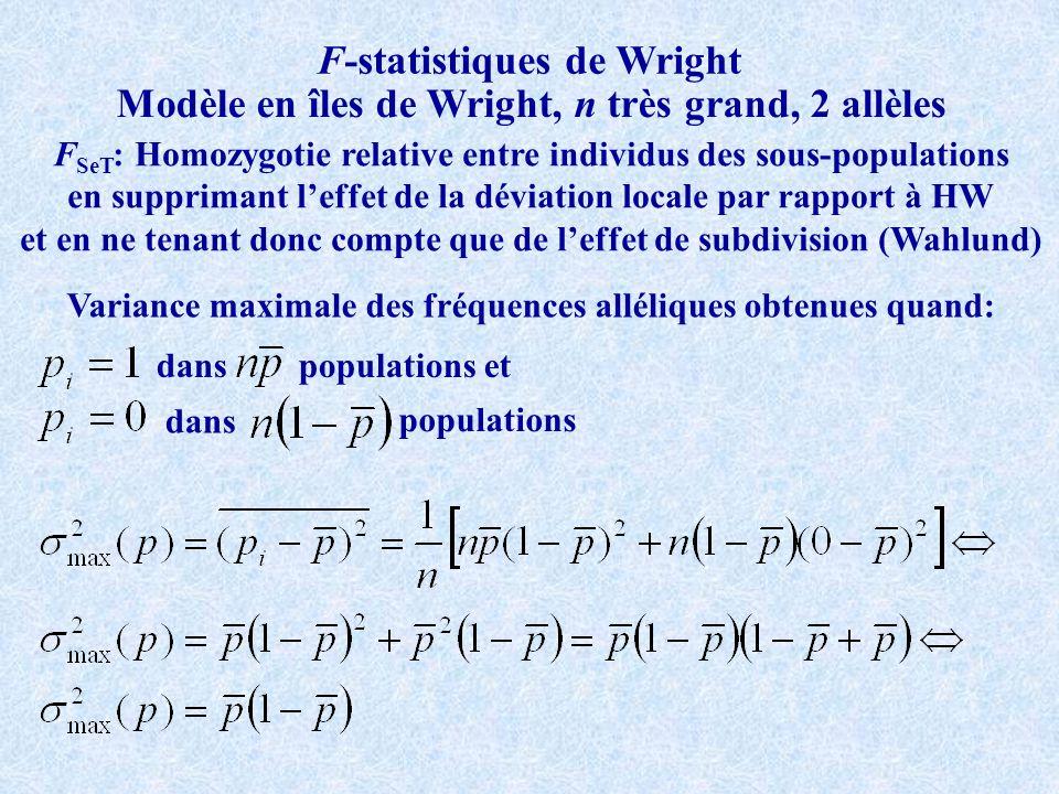F-statistiques de Wright Modèle en îles de Wright, n très grand, 2 allèles F SeT : Homozygotie relative entre individus des sous-populations en supprimant leffet de la déviation locale par rapport à HW et en ne tenant donc compte que de leffet de subdivision (Wahlund) Variance maximale des fréquences alléliques obtenues quand: danspopulations et dans populations