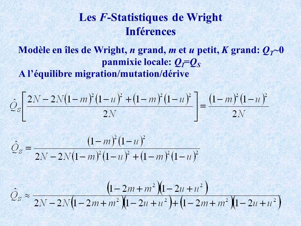 Les F-Statistiques de Wright Inférences Modèle en îles de Wright, n grand, m et u petit, K grand: Q T ~0 panmixie locale: Q I =Q S A léquilibre migration/mutation/dérive