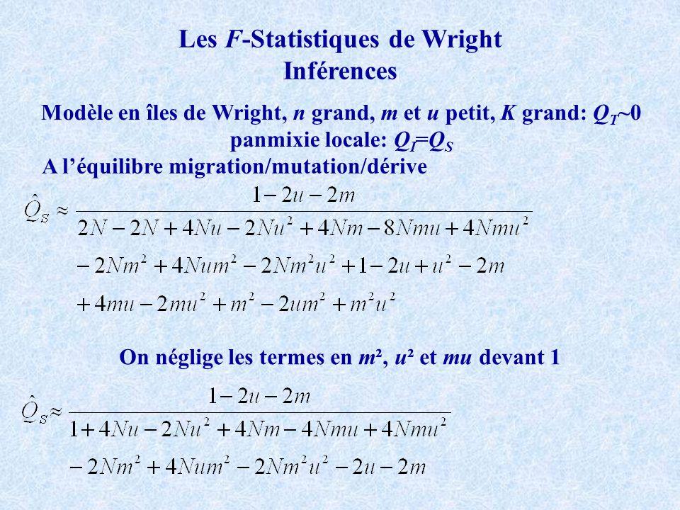 Les F-Statistiques de Wright Inférences Modèle en îles de Wright, n grand, m et u petit, K grand: Q T ~0 panmixie locale: Q I =Q S A léquilibre migration/mutation/dérive On néglige les termes en m², u² et mu devant 1