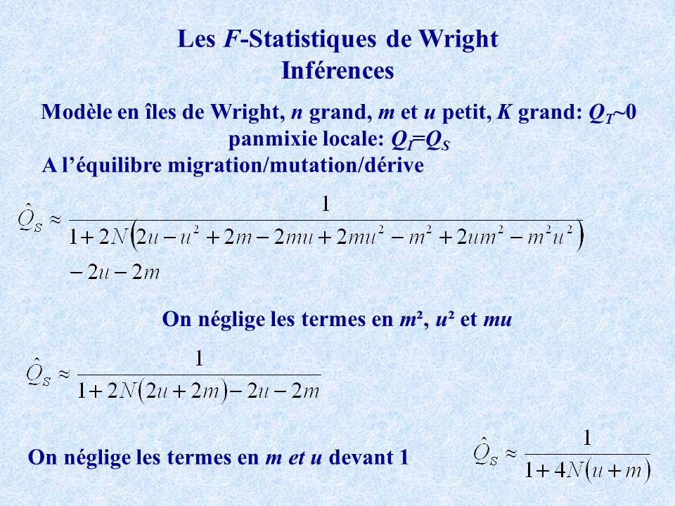Les F-Statistiques de Wright Inférences Modèle en îles de Wright, n grand, m et u petit, K grand: Q T ~0 panmixie locale: Q I =Q S A léquilibre migration/mutation/dérive On néglige les termes en m², u² et mu On néglige les termes en m et u devant 1