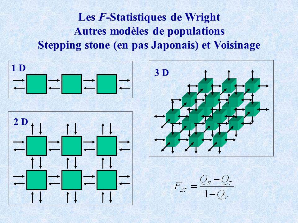 Les F-Statistiques de Wright Autres modèles de populations Stepping stone (en pas Japonais) et Voisinage 1 D 2 D 3 D