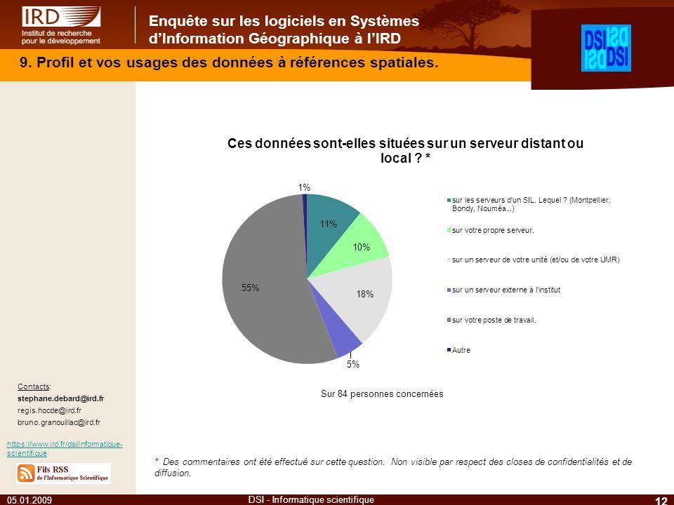 Enquête sur les logiciels en Systèmes dInformation Géographique à lIRD 05.01.2009 12 DSI - Informatique scientifique 9. Profil et vos usages des donné