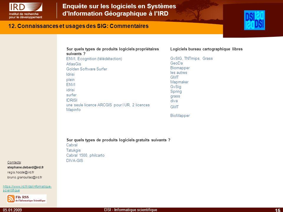 Enquête sur les logiciels en Systèmes dInformation Géographique à lIRD 05.01.2009 15 DSI - Informatique scientifique Contacts: stephane.debard@ird.fr