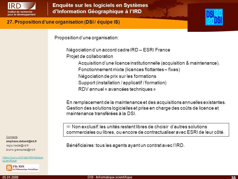 Enquête sur les logiciels en Systèmes dInformation Géographique à lIRD 35 DSI - Informatique scientifique 27. Proposition dune organisation (DSI / équ