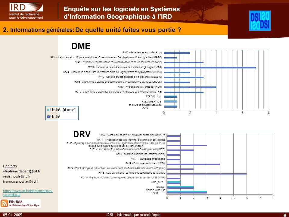 Enquête sur les logiciels en Systèmes dInformation Géographique à lIRD 05.01.2009 6 DSI - Informatique scientifique Contacts: stephane.debard@ird.fr regis.hocde@ird.fr bruno.granouillac@ird.fr https://www.ird.fr/dsi/informatique- scientifique 2.