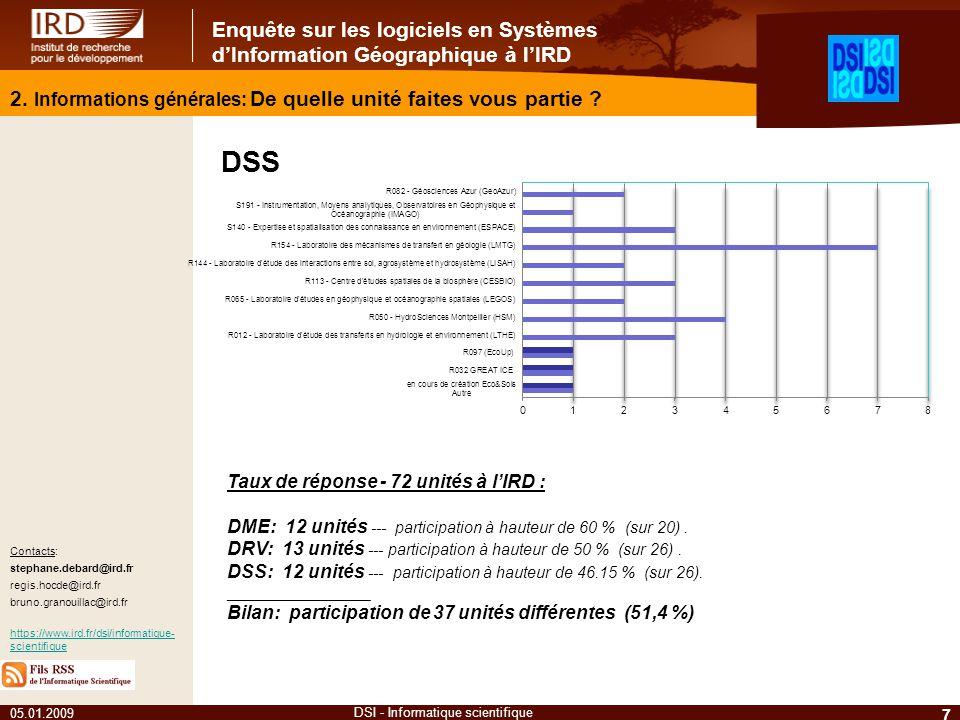 Enquête sur les logiciels en Systèmes dInformation Géographique à lIRD 05.01.2009 7 DSI - Informatique scientifique Contacts: stephane.debard@ird.fr regis.hocde@ird.fr bruno.granouillac@ird.fr https://www.ird.fr/dsi/informatique- scientifique 2.