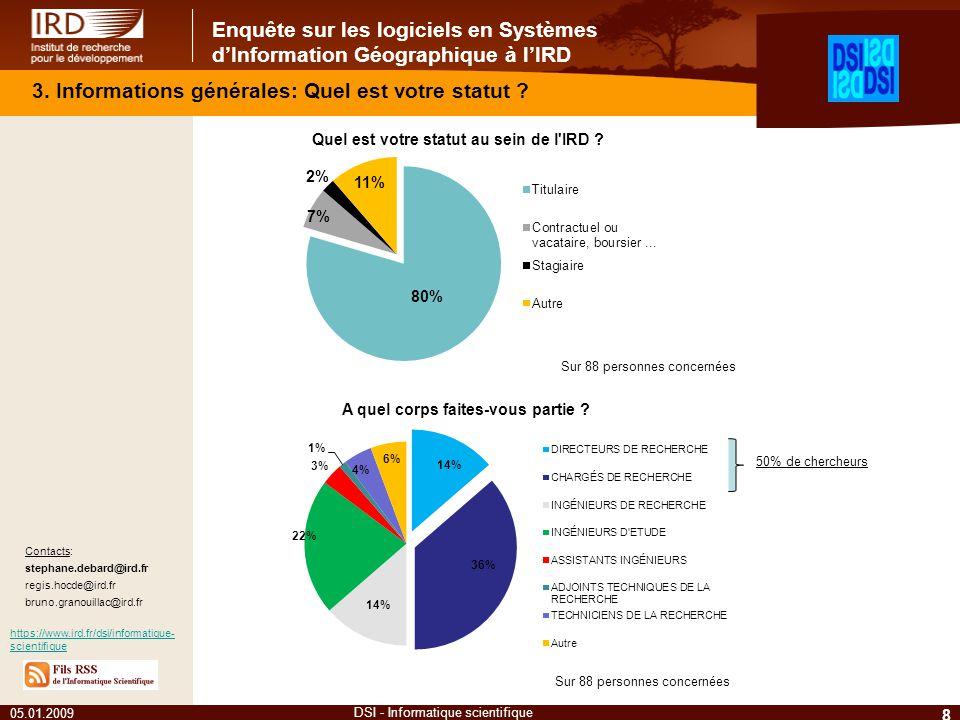 Enquête sur les logiciels en Systèmes dInformation Géographique à lIRD 05.01.2009 8 DSI - Informatique scientifique Contacts: stephane.debard@ird.fr r