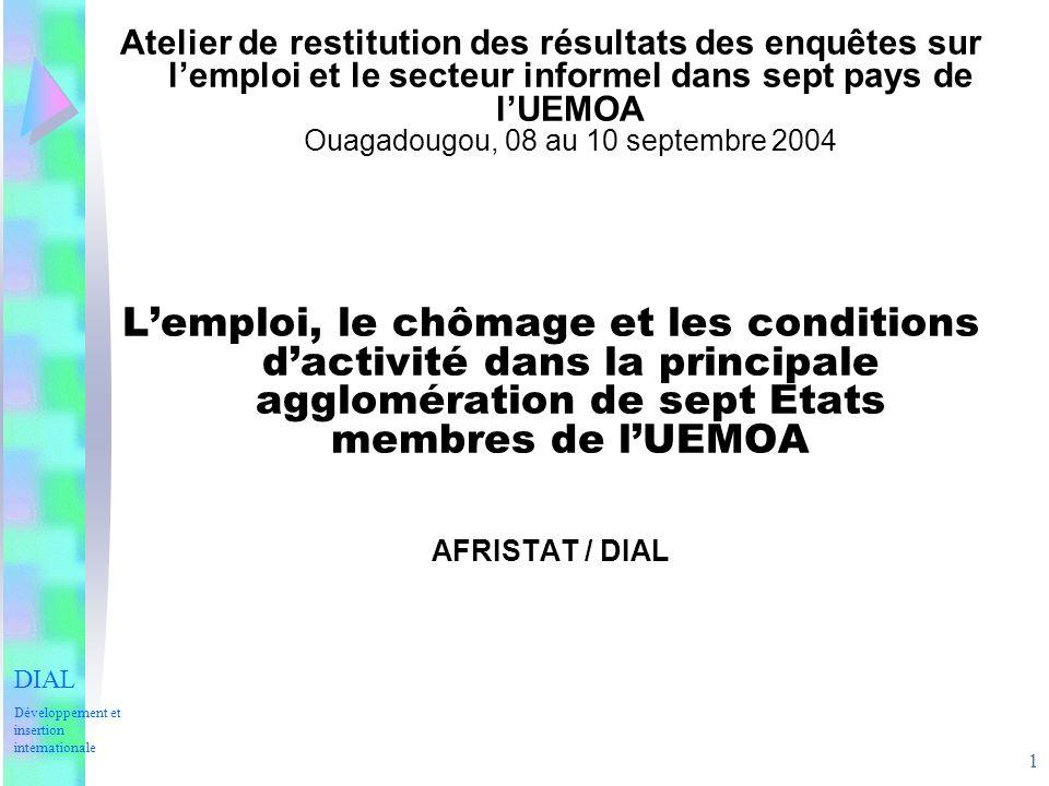 1 Atelier de restitution des résultats des enquêtes sur lemploi et le secteur informel dans sept pays de lUEMOA Ouagadougou, 08 au 10 septembre 2004 L