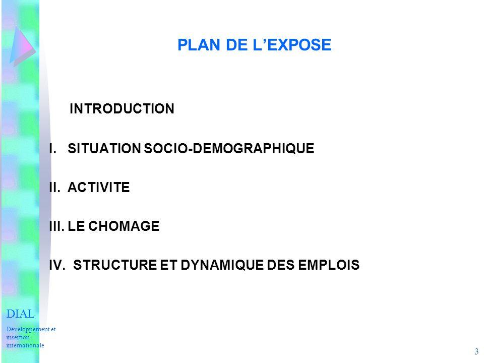 3 PLAN DE LEXPOSE INTRODUCTION I. SITUATION SOCIO-DEMOGRAPHIQUE II. ACTIVITE III. LE CHOMAGE IV. STRUCTURE ET DYNAMIQUE DES EMPLOIS DIAL Développement