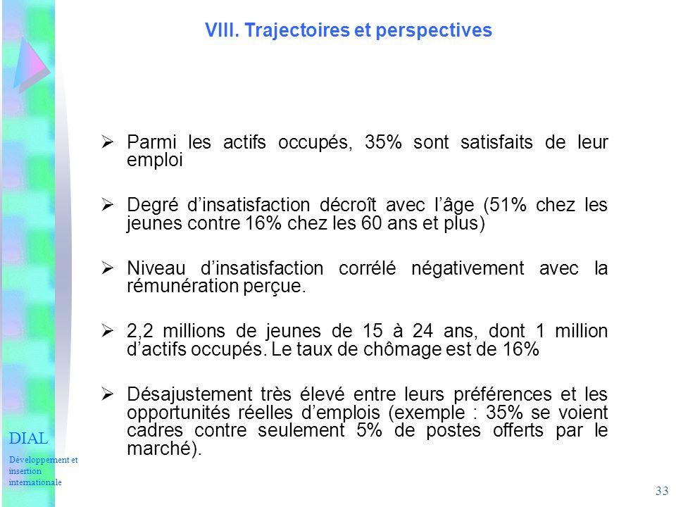 33 VIII. Trajectoires et perspectives DIAL Développement et insertion internationale Parmi les actifs occupés, 35% sont satisfaits de leur emploi Degr