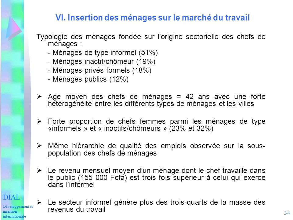 34 VI. Insertion des ménages sur le marché du travail DIAL Développement et insertion internationale Typologie des ménages fondée sur lorigine sectori