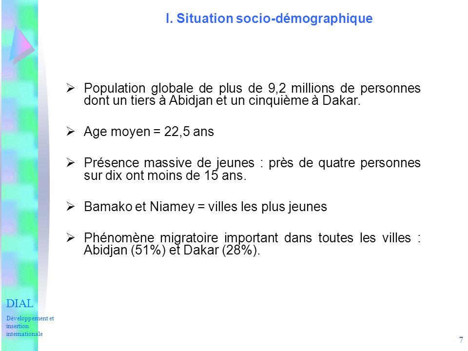 7 I. Situation socio-démographique Population globale de plus de 9,2 millions de personnes dont un tiers à Abidjan et un cinquième à Dakar. Age moyen